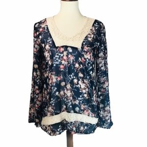 About a Girl Sheer Navy Boho Floral Top